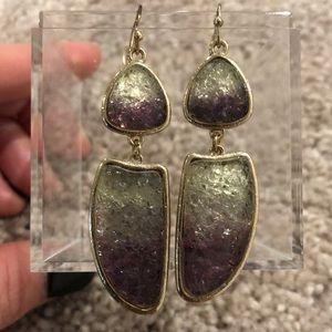 NWOT Clear/Purple Statement Earrings